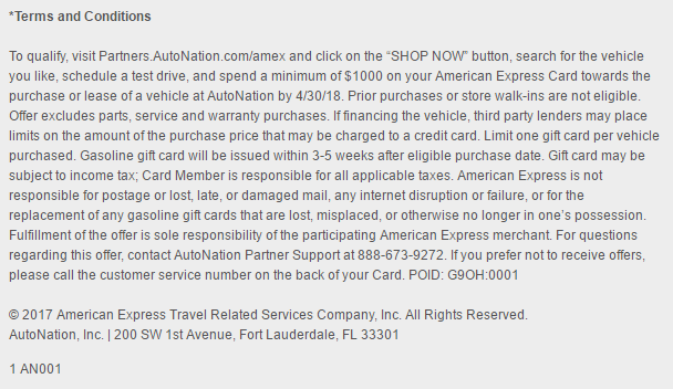 Amex Car Buying >> Get a $200 Gasoline Gift Card When You Use American ...