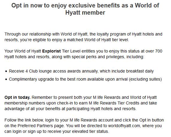 Reminder: Tier Match Into World Of Hyatt With M Life Rewards
